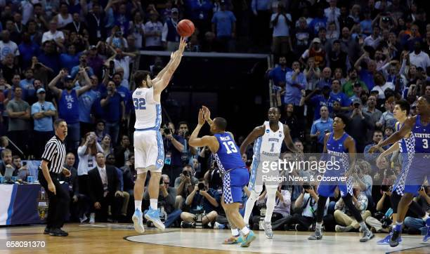 North Carolina's Luke Maye hits the game winning shot during the second half of UNC's 7573 victory over Kentucky in the NCAA Tournament South...