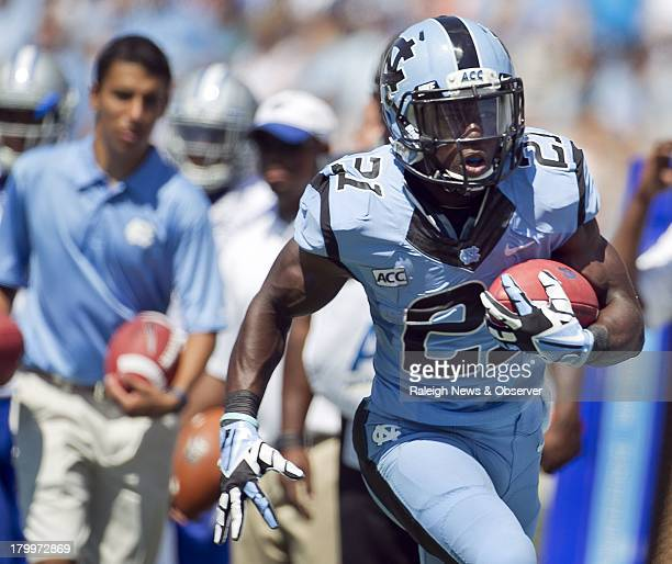 North Carolina's Romar Morris rushes for a 26yard touchdown in the first quarter against Middle Tennessee State at Kenan Stadium in Chapel Hill North...