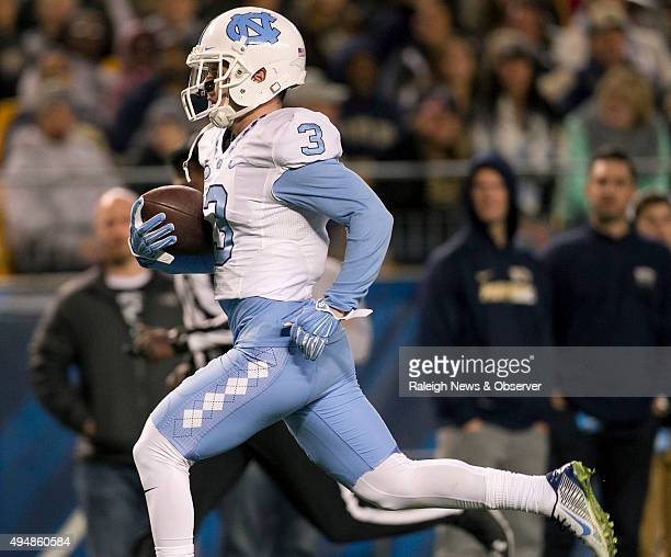 North Carolina's Ryan Switzer scores on a 71yard pass completion from quarterback Marquise Williams in the second quarter against Pittsburgh on...