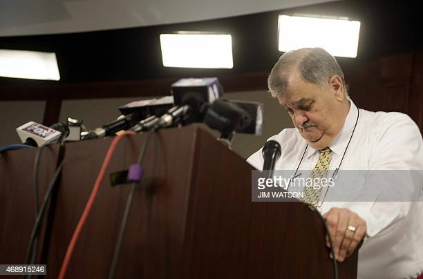 North Charleston Police Chief Eddie Driggers looks down as he takes questions during a press conference at City Hall in Charleston South Carolina on...