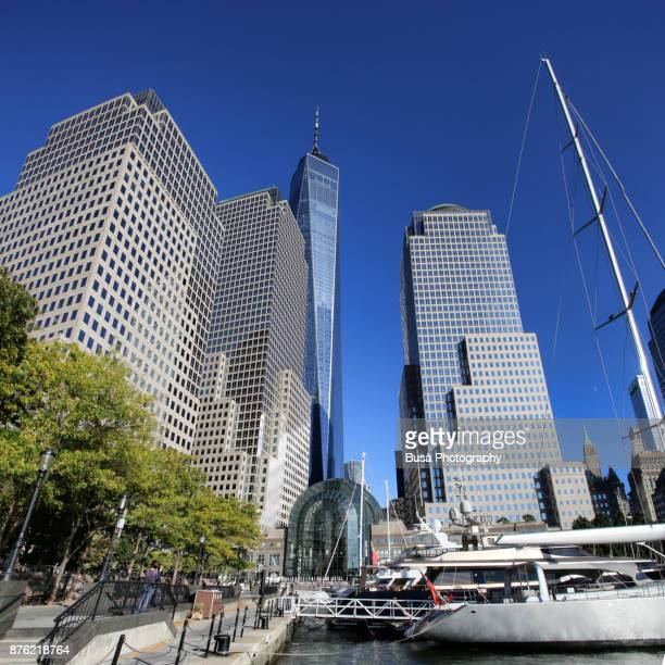 north cove marina on the hudson river at brookfield place, near the world trade center site, with the freedom tower in the background. lower manhattan, new york city - world financial center new york city stock pictures, royalty-free photos & images