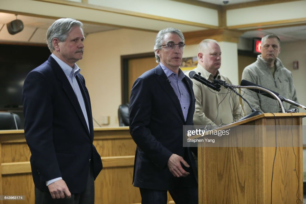 North Dakota Governor Doug Burgum holds a press conference announcing plans for the clean up of the Oceti Sakowin protest camp on February 22, 2017 in Mandan, North Dakota. Protesters and campers against the DAPL pipeline, at times numbering in the thousands, are now down to under a hundred.