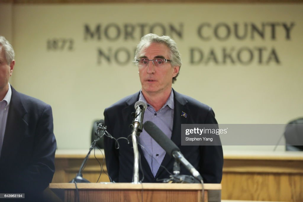 North Dakota Governor Doug Burgum speaks during a press conference announcing plans for the clean up of the Oceti Sakowin protest camp on February 22, 2017 in Mandan, North Dakota. Protesters and campers against the DAPL pipeline, at times numbering in the thousands, are now down to under a hundred.