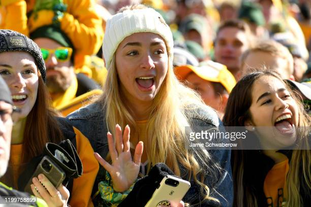North Dakota State Bison fans celebrate their victory over the James Madison Dukes during the Division I FCS Football Championship held at Toyota...