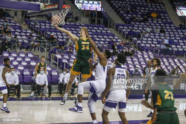 North Dakota State Bison forward Rocky Kreuser goes to the basket during the game between TCU and North Dakota State on December 22, 2020 at Ed & Rae...