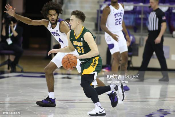 North Dakota State Bison guard Boden Skunberg brings the ball up court during the game between TCU and North Dakota State on December 22, 2020 at Ed...