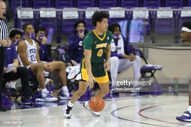 North Dakota State Bison guard Dezmond McKinney brings the ball up court during the game between TCU and North Dakota State on December 22, 2020 at...
