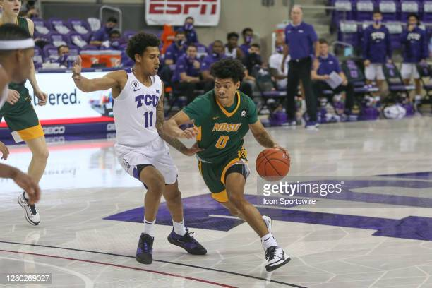 North Dakota State Bison guard Dezmond McKinney drives to the basket during the game between TCU and North Dakota State on December 22, 2020 at Ed &...