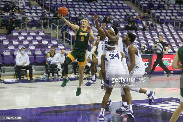 North Dakota State Bison guard Sam Griesel goes to the basket during the game between TCU and North Dakota State on December 22, 2020 at Ed & Rae...