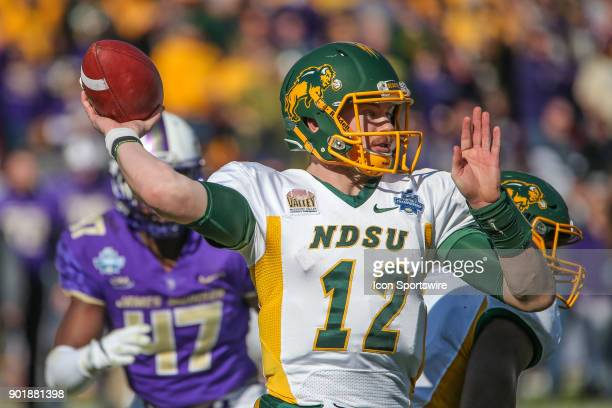 North Dakota State Bison quarterback Easton Stick passes during the FCS National Championship game between North Dakota State and James Madison on...
