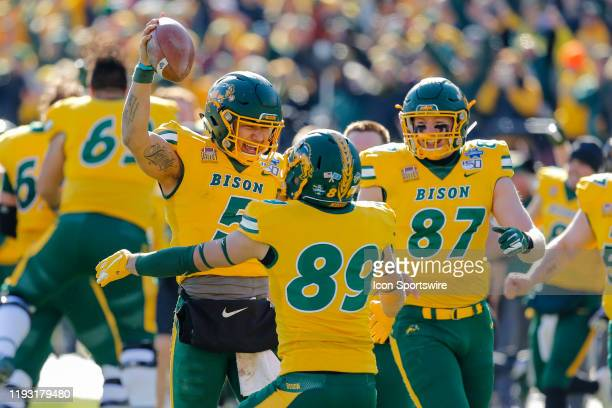 North Dakota State Bison quarterback Trey Lance celebrates winning the NCAA Division I Football Championship Game between the North Dakota State...