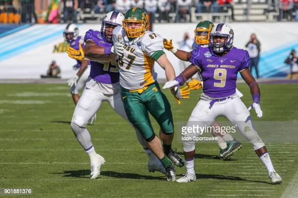 North Dakota State Bison tight end Connor Wentz fights off pass coverage during the FCS National Championship game between North Dakota State and...