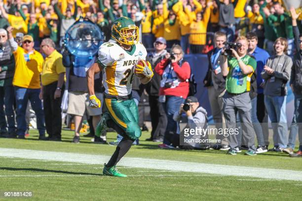 North Dakota State Bison wide receiver Darrius Shepherd runs to the end zone for a touchdown during the FCS National Championship game between North...