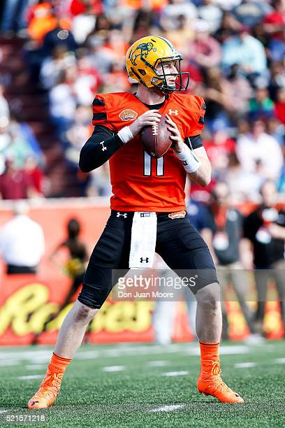 North Dakota State Quarterback Carson Wentz of the North Team during the 2016 Resse's Senior Bowl at LaddPeebles Stadium on January 30 2016 in Mobile...