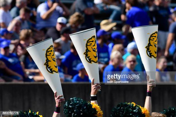 North Dakota State University Bison cheerleader megaphones go up as the Bison play the Indiana State University Sycamores in a Missouri Valley...