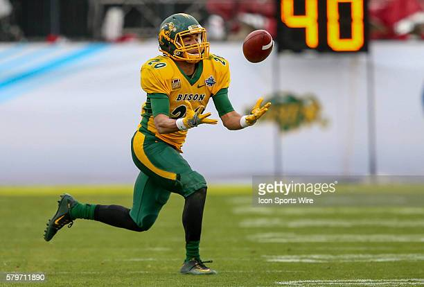 North Dakota State WR Darrius Shepherd tries to come up with a reception during the game between the North Dakota State Bison and the Jacksonville...