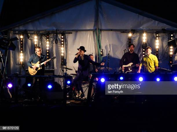North East band Maximo Park perform on a barge in the middle of the River Tyne during the opening ceremony of the Great Exhibition of the North on...