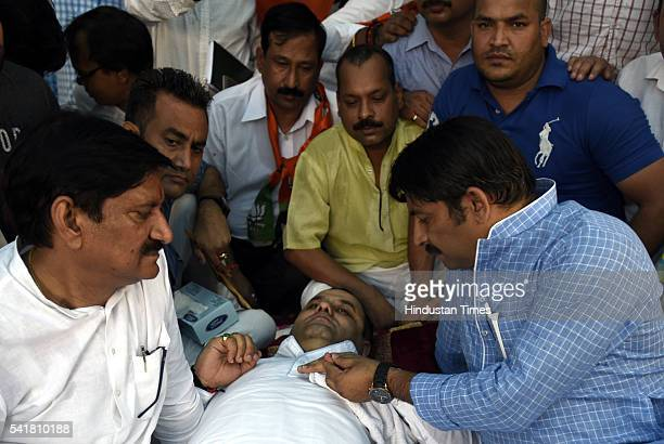 North East Delhi MP Manoj Tiwari joins Bharatiya Janata Party MP Mahiesh Girri during his indefinite fast outside the residence of Delhi Chief...