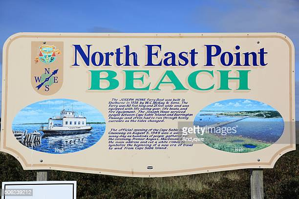 north east point beach sign - insel sable island stock-fotos und bilder