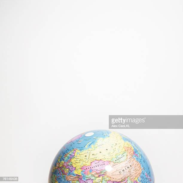North eastern hemisphere of globe against white background