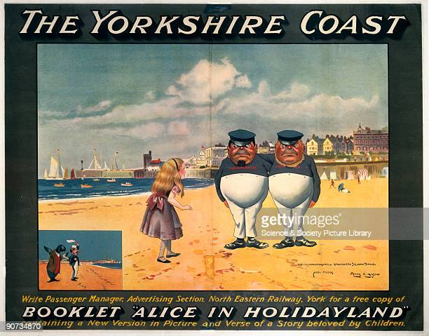 North Eastern Railway poster �Alice in Holidayland� showing Alice on the beach with Tweedledum and Tweedledee Artwork by Frank Mason