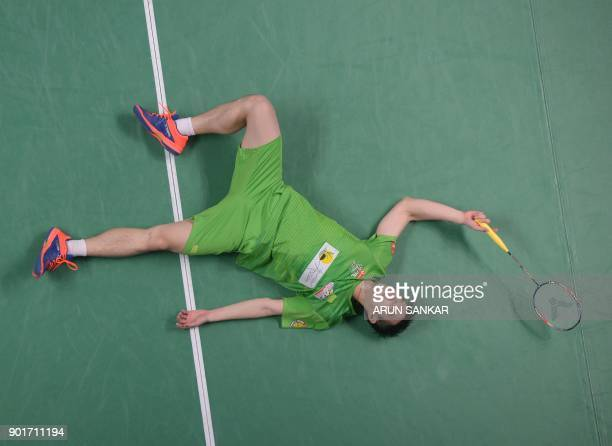 North Eastern Warriors player Tzu Wei Wang of Taiwan reacts after losing a match against Bengaluru Blasters player Viktor Axelsen of Denmark during...