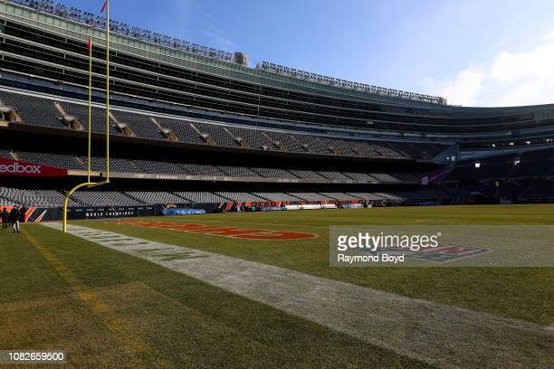 North end zone of Soldier Field, home of the Chicago Bears football team in Chicago, Illinois on December 11, 2018.