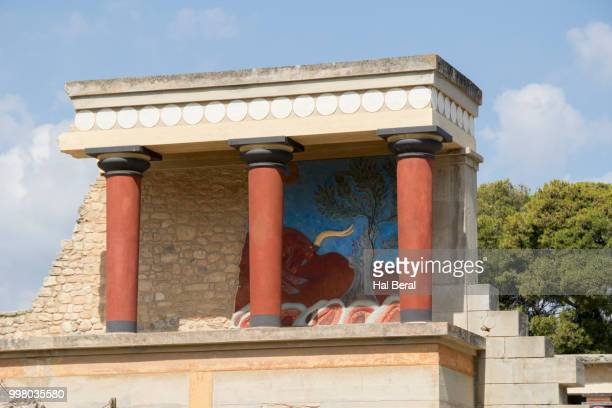 North entrance to the Palace of Knossos with copy of Charging Bull fresco