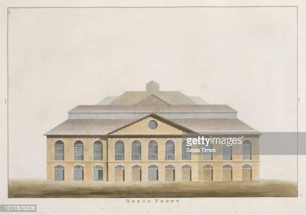 North front, The Stag Brewery at Pimlico and other adjoining premises Saunders, George, 1762-1839, Ink, watercolor, 1807.