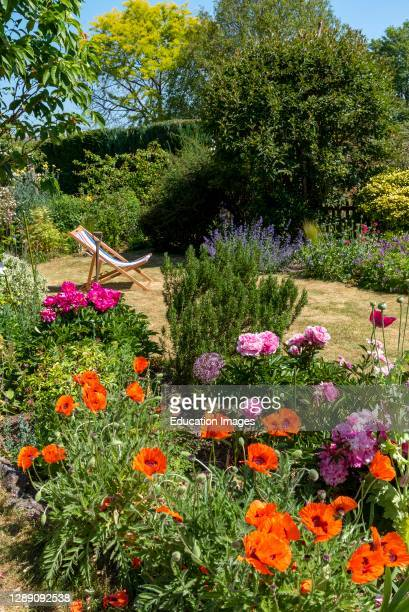 North Hampshire, England, UK, An attractive English country garden and a deckchair in early summer.