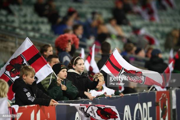 North Harbour fans during the round one Mitre 10 Cup match between North Harbour and Otago at QBE Stadium on August 17, 2017 in Auckland, New Zealand.
