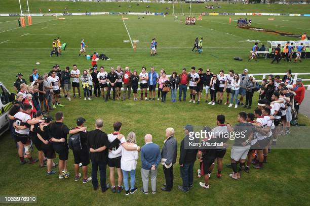 North Harbour players and parents following their final game during the Jock Hobbs U19 Rugby Tournament on September 15 2018 in Taupo New Zealand