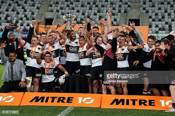 North Harbour players celebrate winning the Mitre 10 Championships Final match between Otago and North Harbour at Forsyth Barr Stadium on October 28,...