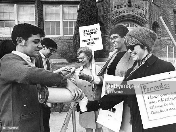 NOV 19 1969 NOV 20 1969 North High School Key Club provides Coffee hot Chocolate for Striking Teachers at Lake Junior High School Picket Line From...