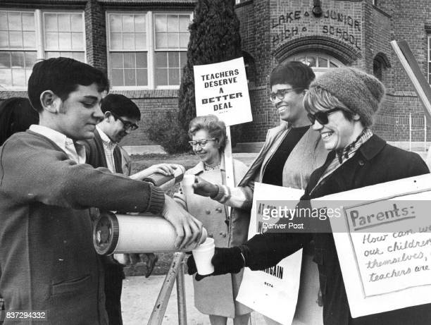 North High School Key Club provides Coffee hot Chocolate for Striking Teachers at Lake Junior High School Picket Line From left are Randy Houchens...