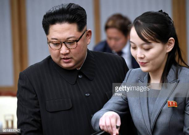 North Koraen Leader Kim Jong Un and sister Kim Yo Jong attend the InterKorean Summit at the Peace House on April 27 2018 in Panmunjom South Korea Kim...