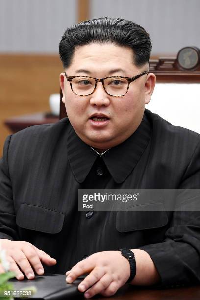 North Koraen Leader Kim Jong Un speaks during the InterKorean Summit at the Peace House on April 27 2018 in Panmunjom South Korea Kim and Moon meet...