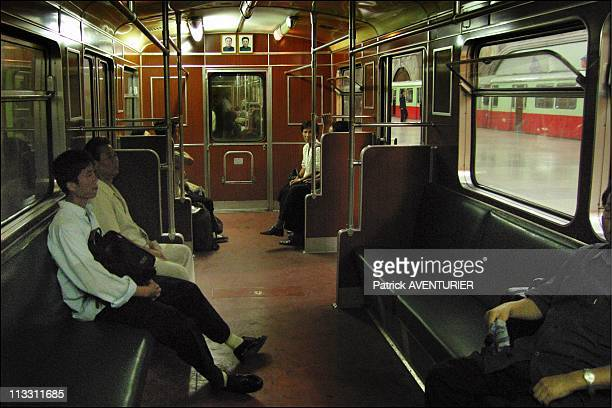 North Korea A Journey Into The Country Of Forbidden Photographs On August 2005 In Pyongyang North Korea Here Inside View Of A Subway Carriage In...