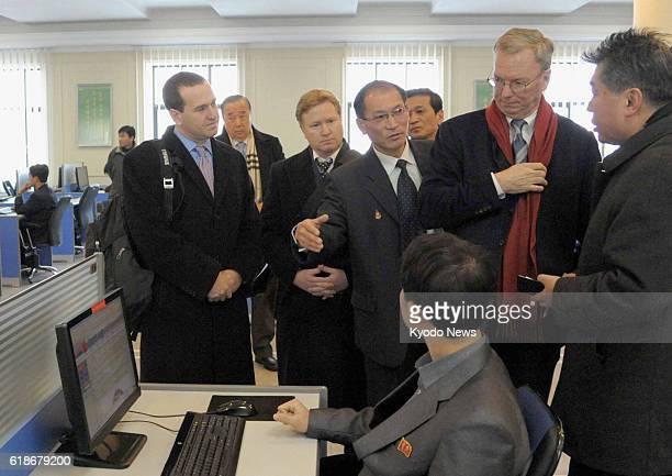 PYONGYANG North Korea A US delegation including Google Inc Executive Chairman Eric Schmidt visits Kim Il Sung University in Pyongyang North Korea's...