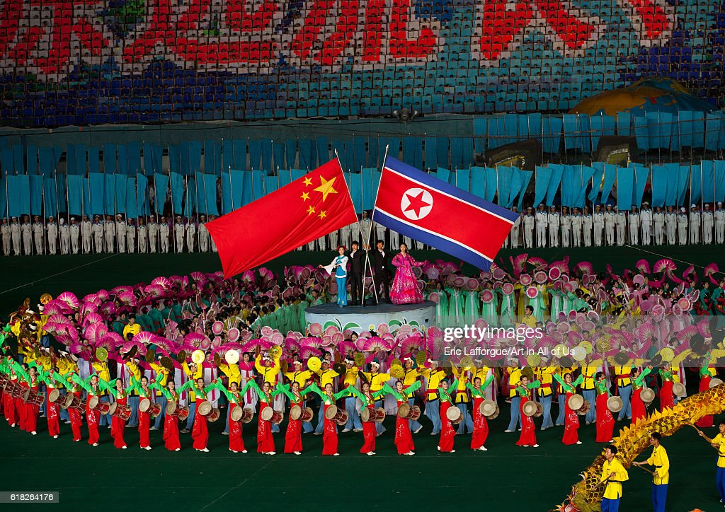 North korea and china friendship during the arirang mass game in may day stadium, Pyongyang, North korea : News Photo