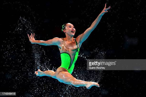 North Korea compete during the Synchronized Swimming Free Combination Final on day eight of the 15th FINA World Championships at Palau Sant Jordi on...