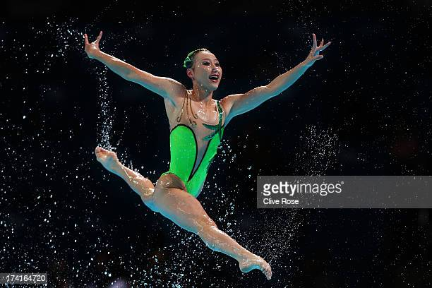 North Korea compete in the Synchronized Swimming Free Combination preliminary round on day two of the 15th FINA World Championships at Palau Sant...
