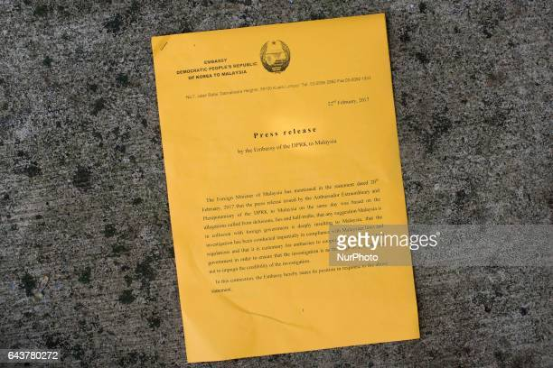 North Korea Embassy spread a press release letter to media on February 22 2017 at outside of North Korea Embassy in Kuala Lumpur Malaysia North Korea...