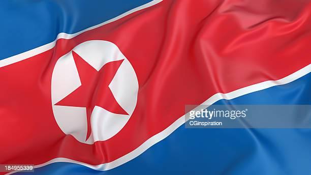 bandera de corea del norte - corea del norte fotografías e imágenes de stock