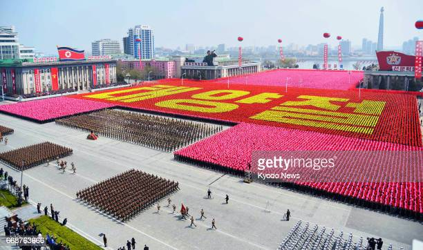 North Korea holds a military parade at Kim Il Sung Square in Pyongyang on April 15 as it marked the 105th anniversary of its founding leader's birth...