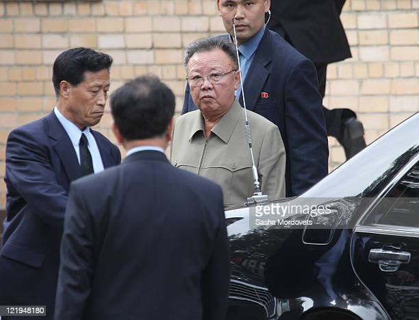 North Korea Leader Kim Jong Il departs after attending a meeting with Russian President, Dmitry Medvedev, on August 24, 2011 in the Eastern city of...