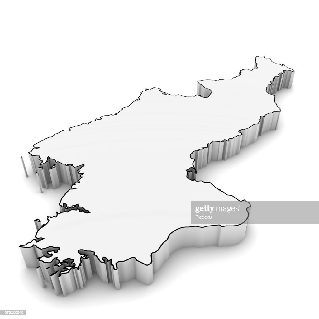 North Korea Map Outline In White 3d Illustration Stock Photo Getty