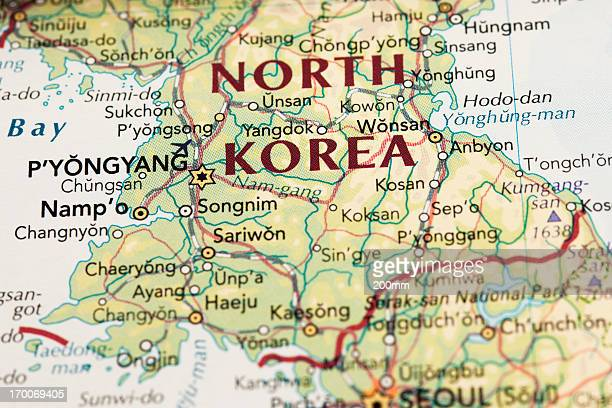 north korea map - korea stock pictures, royalty-free photos & images