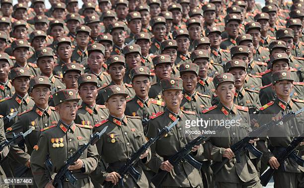 PYONGYANG North Korea North Korean soldiers march in a military parade in Kim Il Sung Square Pyongyang on July 27 the 60th anniversary of the signing...
