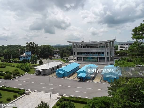north korea panmunjom in military line 38 military barracks,on august 9, 2016 - panmunjom stock pictures, royalty-free photos & images